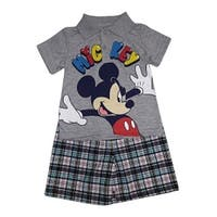 Little Boys Grey Mickey Mouse Print Polo Top Plaid 2 Pc Shorts Outfit