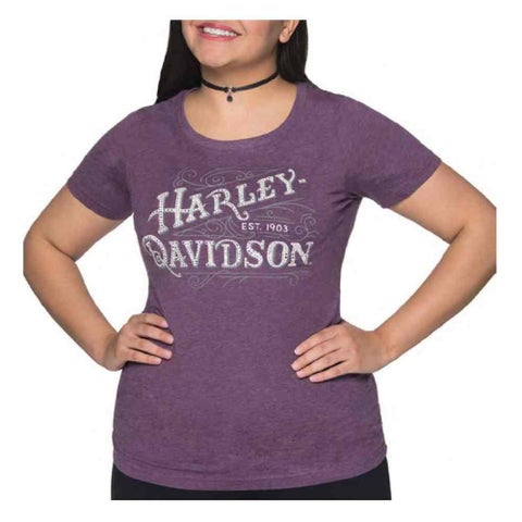 Harley-Davidson Women's Embellished Eloquent Ride Short Sleeve Tee, Purple