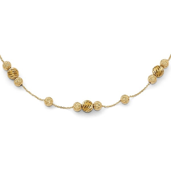Italian 14k Gold Fancy Adjustable Necklace - 16 inches