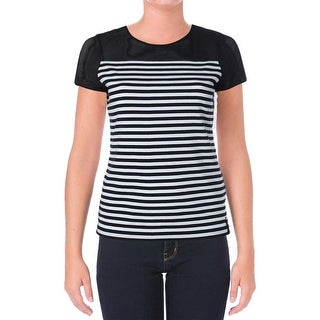 L-RL Lauren Active Womens Shirts & Tops Short Sleeves Striped