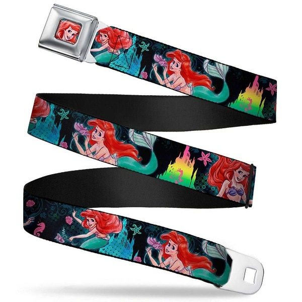 Ariel Face Full Color Turquoise Ariel Underwater Poses Palace Silhouette Seatbelt Belt
