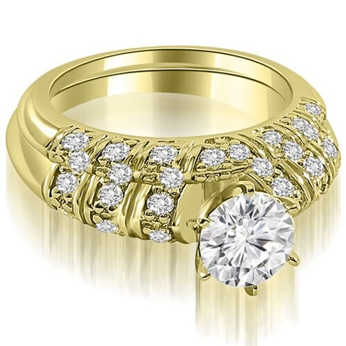 1.35 cttw. 14K Yellow Gold Antique Round Cut Diamond Bridal Set