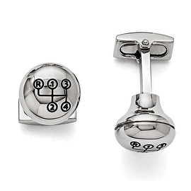 Chisel Stainless Steel Polished Stick Shift Design Enameled Cuff Links