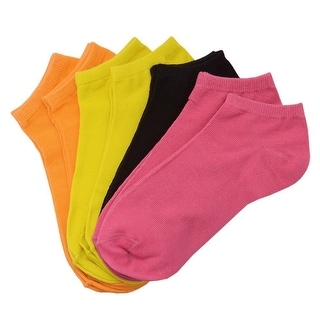 Everlast Girls Neon Pink Solid Color 7 Pair Low Cut Ankle Assorted Socks 6-8