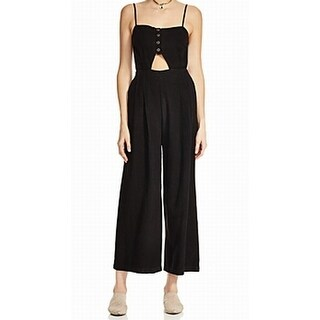 Free People NEW Black Women's Size Large L Cutout Seamed Jumpsuit