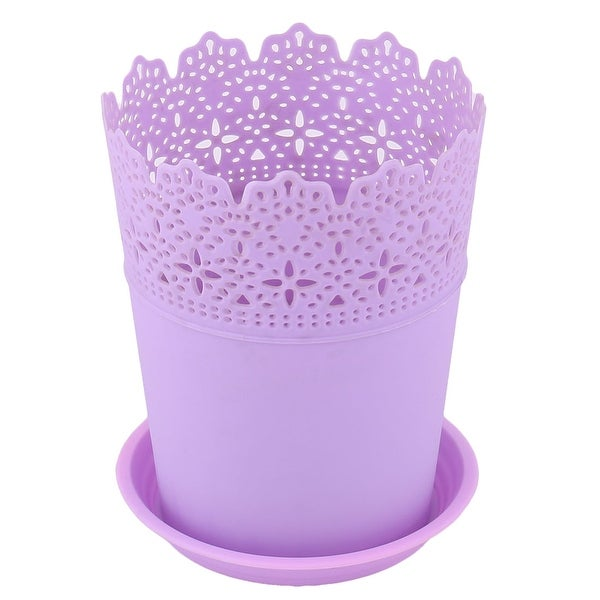 Plastic Hollow Out Design Table Decor Plant Container Flower Pot Tray Purple