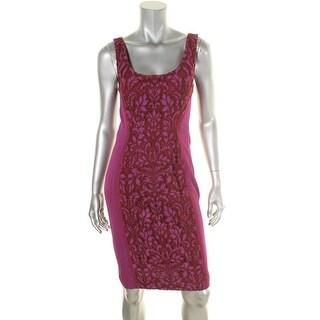 Diane Von Furstenberg Womens Geovana Party Dress Crepe Lace Overlay