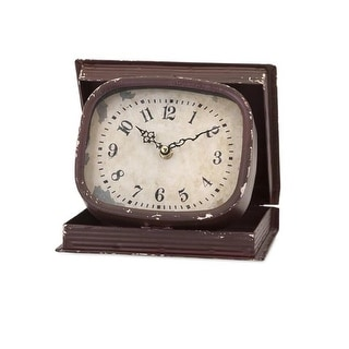 "8"" The Book of Time Distressed Brown Rectangular Book Box Table Top Desk Clock"