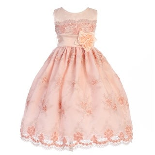 Crayon Kids Little Girls Peach Embroidered Flower Adorned Easter Dress 2T-6