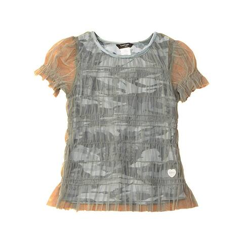 bebe Girl's Top Green Size Large L Camo Print Mesh Solid Stretch
