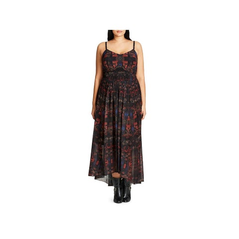 City Chic Womens Maxi Dress Printed Sleeveless - l
