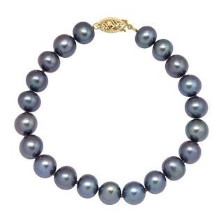 Honora 8-9 mm Freshwater Black Pearl Strand Bracelet in 14K Gold
