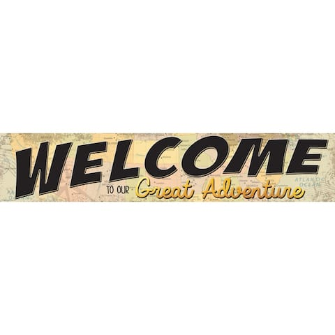 """Travel The Map Welcome to Our Great Adventure Banner, 8"""" x 39"""" - One Size"""