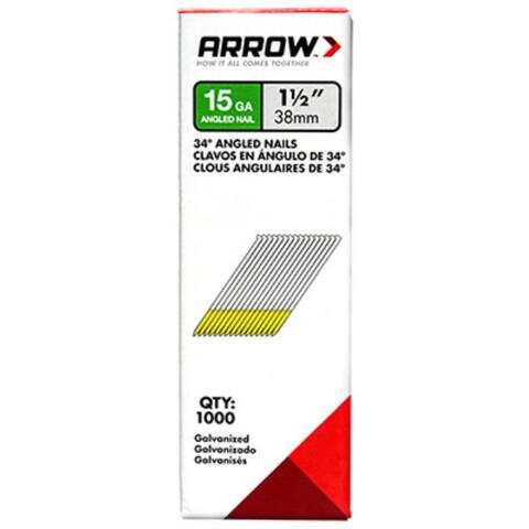 "Arrow Fastener 15G38-1K Galvanized 34-Degree Angled Nails, 1-1/2"", 1000-Pack"