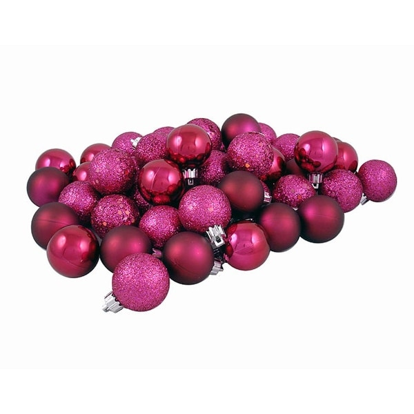 "60ct Red Raspberry Shatterproof 4-Finish Christmas Ball Ornaments 2.5"" (60mm)"