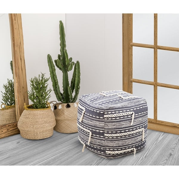 Chic Home Spiro Ottoman Woven Cotton Upholstered Square Pouf. Opens flyout.