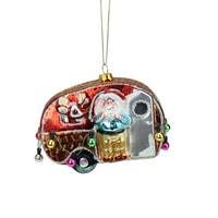 """4.5"""" Santa and Reindeer in Camper Trailer Glass Christmas Ornament - Red"""