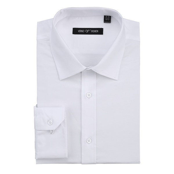 Mens Regular Fit Business Casual Cotton Solid Dress Shirt