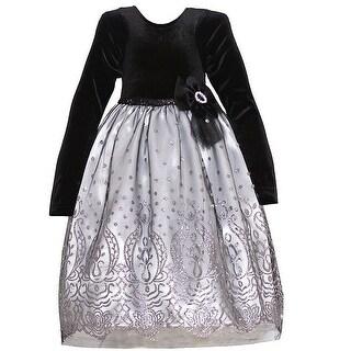 Good Lad Little Girls Black Velvet Flower Silver Sparkle Occasion Dress - 2t