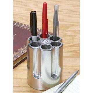Revolver Gun Cylinder Cast Aluminum Pen Pencil Holder - Shooting Desk Accessory - Silver