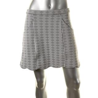 Minkpink Womens Scalloped Hem Checkered Straight Skirt