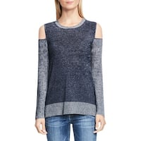 Two by Vince Camuto Womens Pullover Top Cold Shoulder Mixed Media