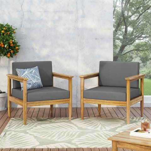 Magnolia Outdoor Acacia Wood Club Chair (Set of 2) by Christopher Knight Home