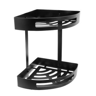 Stainless Steel 11.4-inch Two-Tier Bathroom Shower Corner Basket Black Plated