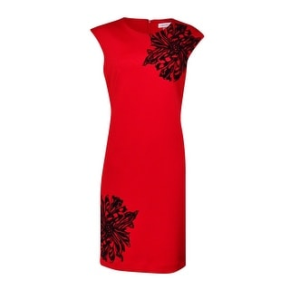 Calvin Klein Women's Floral Velvet-Print Scuba Sheath Dress (8, Red/Black) - 8
