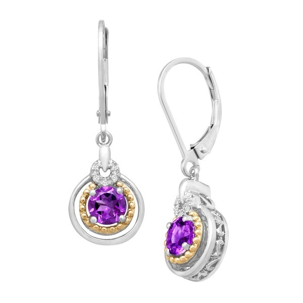 7/8 ct Natural Amethyst Drop Earrings with Diamonds in Sterling Silver and 14K Gold