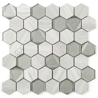 "Link to TileGen. Hexagon 2"" x 2"" Glass Stone Mosaic Tile in Beige Wall Tile (10 sheets/9.6sqft.) Similar Items in Tile"