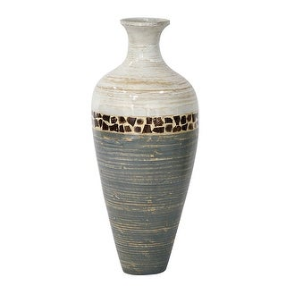 """24"""" Spun Bamboo Vase - Bamboo In White And Gray W/ Coconut Shell"""