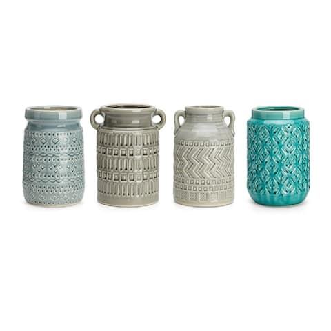 """Set of 3 Gray and Green Glossy Finish Utensil Containers 8"""""""