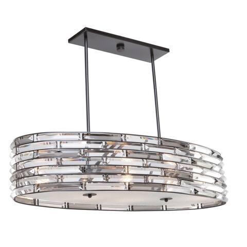 Artistry lighting Eight Light Chandelier Matte Black & Satin Nickel - Exact Size