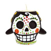 Pack of 6 Red and Green Female Day Of The Dead Skull Tea Light Candle Holder 6Oz.