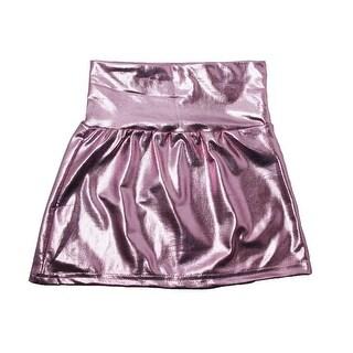 Little Girls Pink Metallic Shine Stretchy Lightweight Soft Skirt 3T-5
