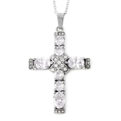 Steel Cubic Zirconia Crystal Necklace Pendant Size 20 Inch ct 5 - Size 20''