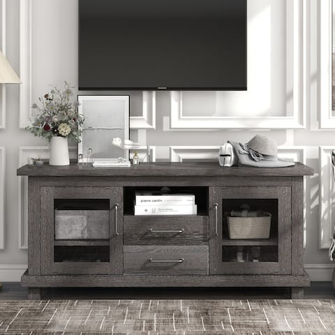 Vintage Particleboard TV Stand with 2 Drawers and Open, Espresso