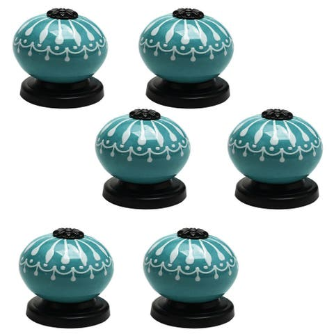 6pcs Ceramic Knobs Pull Handle Furniture Drawer TV Cabinet Cupboard Wardrobe Dresser Door Knobs Replacement Accessories Blue
