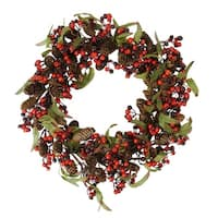 "20"" Red and Black Berry and Pine Cone Artificial Christmas Wreath - Unlit"