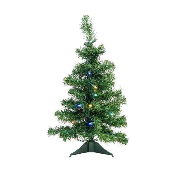 "2' x 14"" Pre-Lit Mixed Classic Pine Medium Artificial Christmas Tree - Multi LED Lights - green"