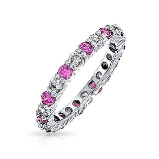 Bling Jewelry Silver Pink Ruby Color CZ July Birthstone Ring Eternity Band