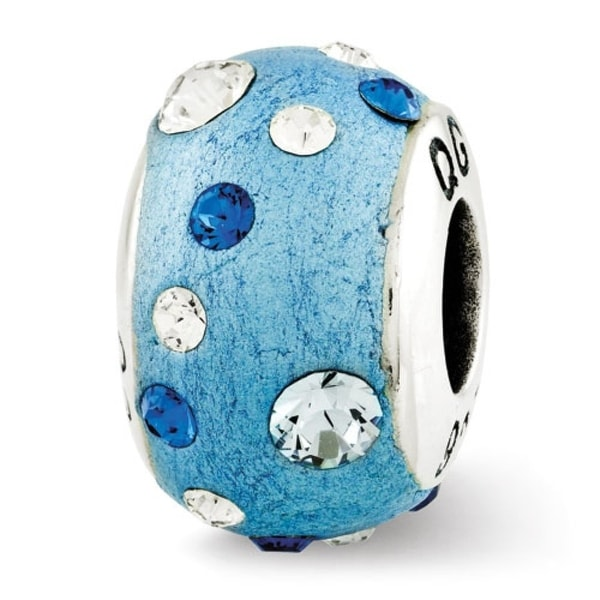 Sterling Silver Reflections Blue Molded & Swarovski Elements Bead (4mm Diameter Hole)