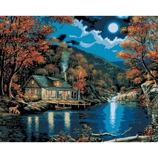"""Paint By Number Kit 16""""X20""""-Lakeside Cabin"""