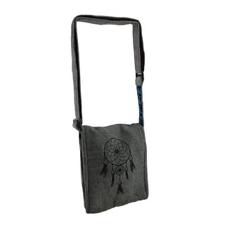 Dreamcatcher Small Grey Lightly Padded Handcrafted Adjustable Cross Body Bag