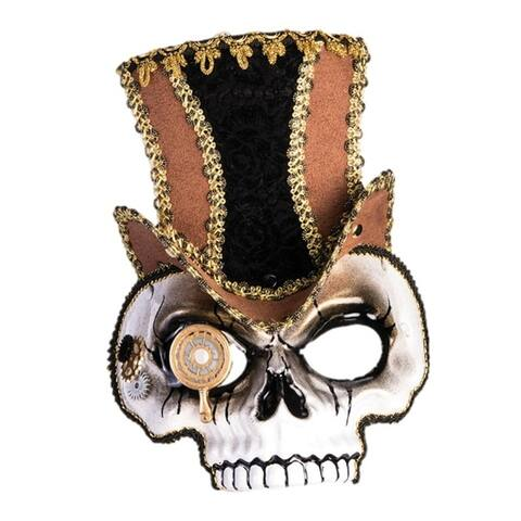 Sir Steampunk Skull Half Mask Brown Hat