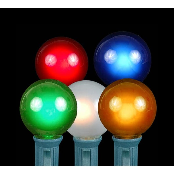 Set of 20 Multi-Color Opaque G40 Globe Christmas Lights - Green Wire - multi
