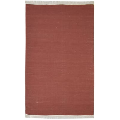 """One of a Kind Flatweave Modern & Contemporary 4' x 6' Solid Wool Red Rug - 3'6""""x5'9"""""""