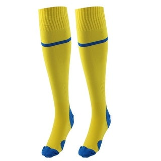 Outdoor Activities Knee High Stretchy Rugby Soccer Training Socks Yellow Pair