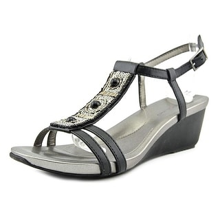 Bandolino Hettie Women Open Toe Synthetic Black Wedge Sandal